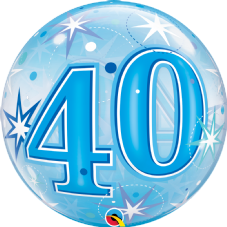 40th Blue Stars Bubble Balloon